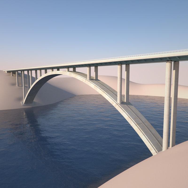 3dsmax open arch bridge highway