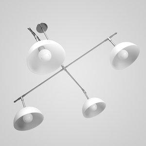 four-bulb ceiling lamp 10 3d model
