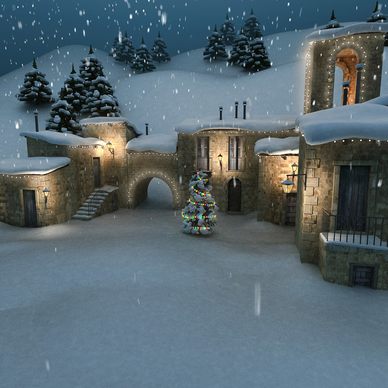 3d medieval village christmas model