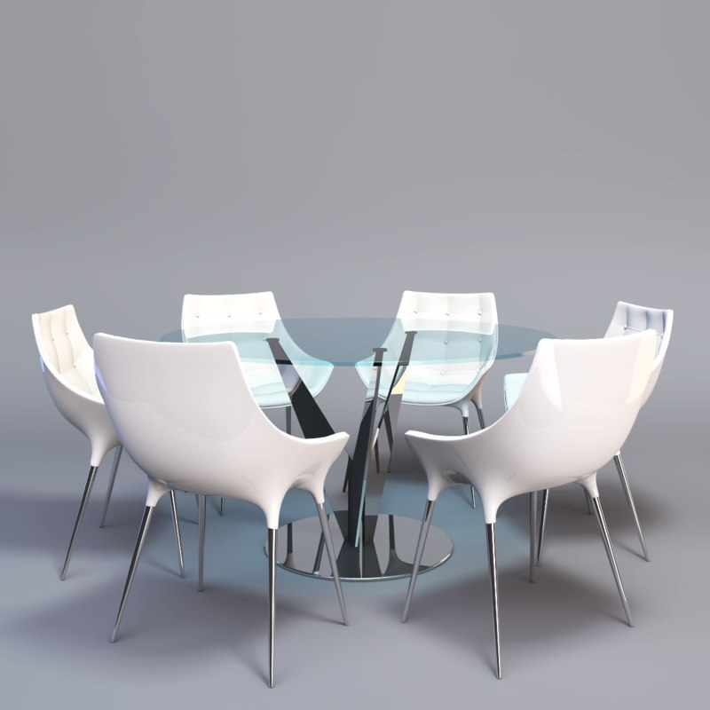 3d model of glass dining table designer chair