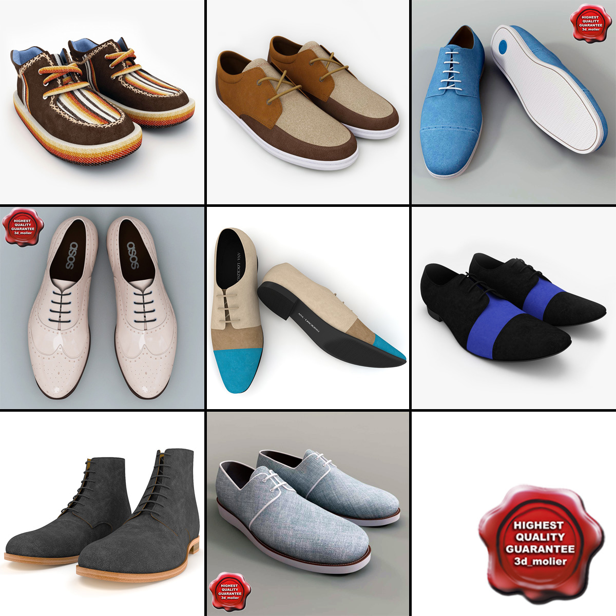 men shoes v8 3d model
