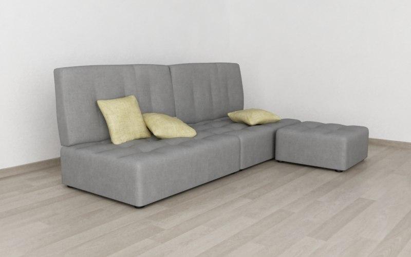 reiko sofa chaise 3d 3ds