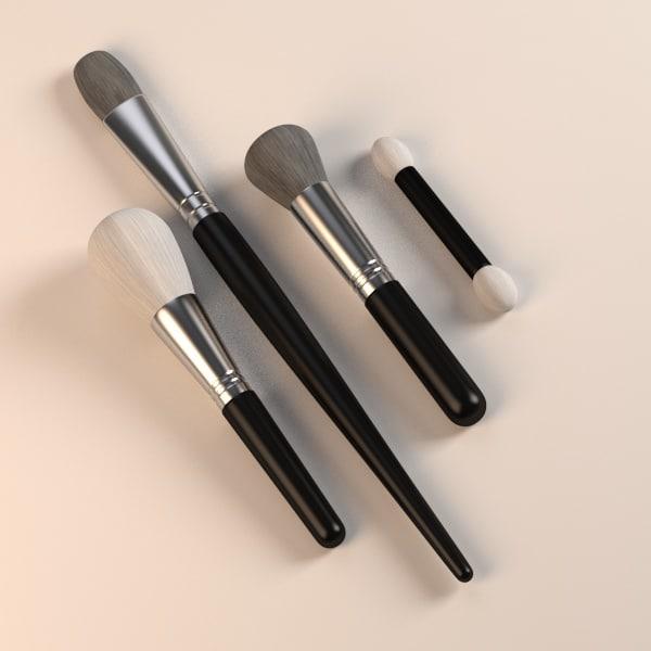 cosmetics brushs 3d obj