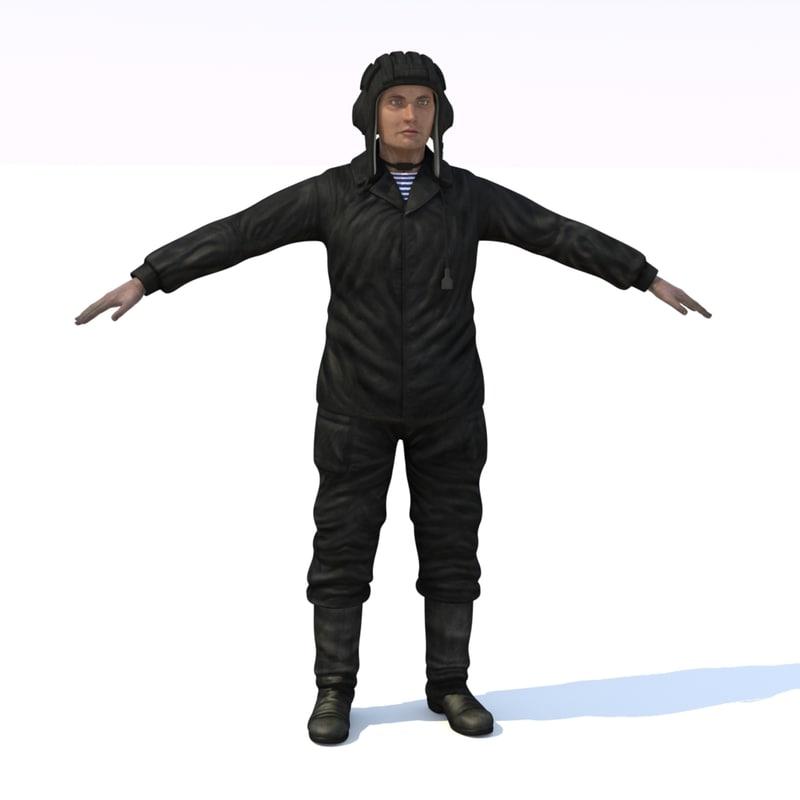 3d model crewman russian