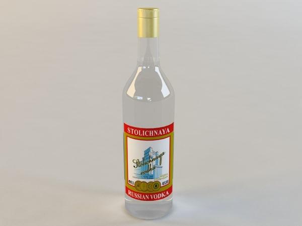 bottle stolichnaya vodka 3d dwg