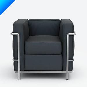 3ds max le corbusier lc2 armchair