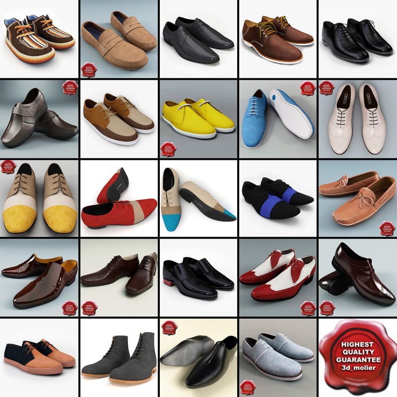 3d model men shoes v11
