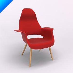 3d model eero saarinen organic chair