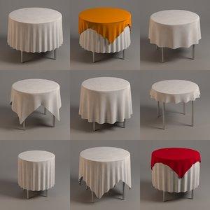 3d model tables tableclothes