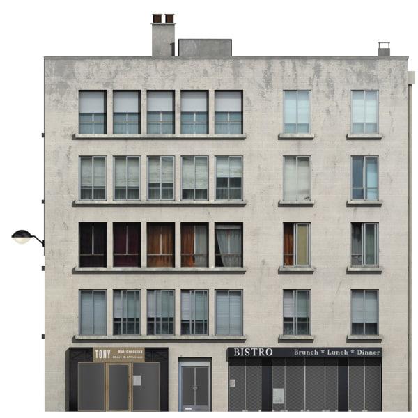 vintage building shops 3d model