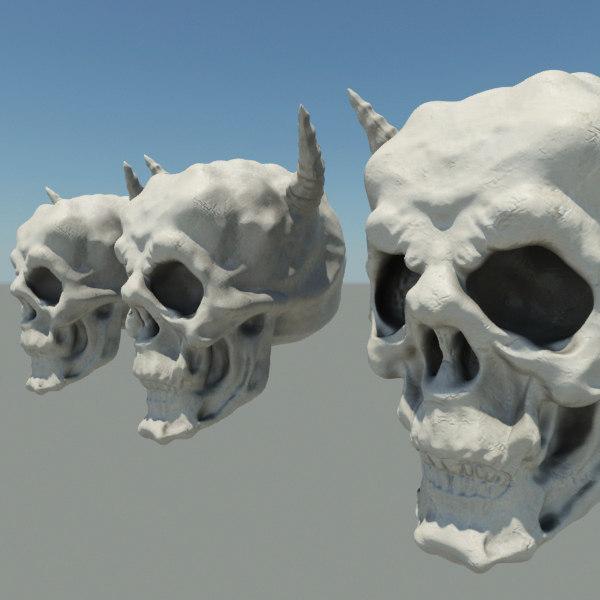 demon skull 3d max