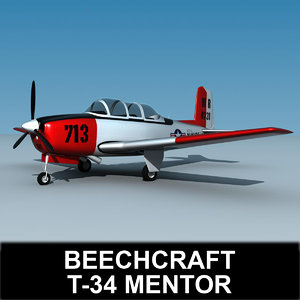 beechcraft t-34 mentor 3d x