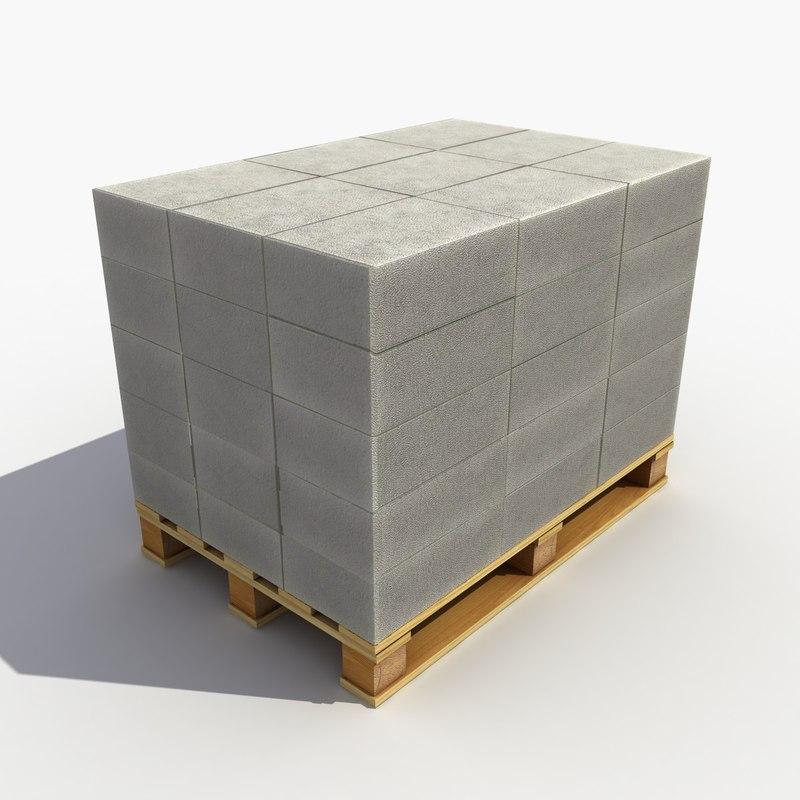 bricks pallet 3d obj