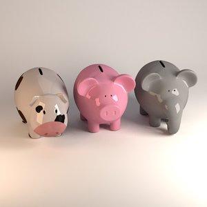3d model piggy pig bank