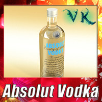 photorealistic liquor bottle absolut vodka 3d model