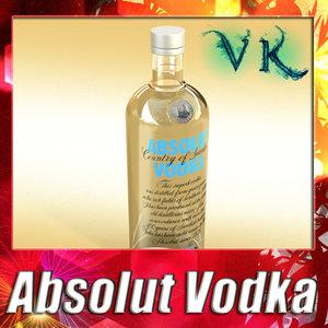 photorealistic liquor bottle absolut vodka 3d model