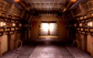 scifi corridor fbx