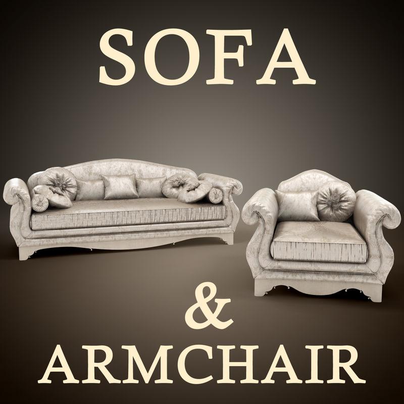 sofa armchair giusti portos 3d model