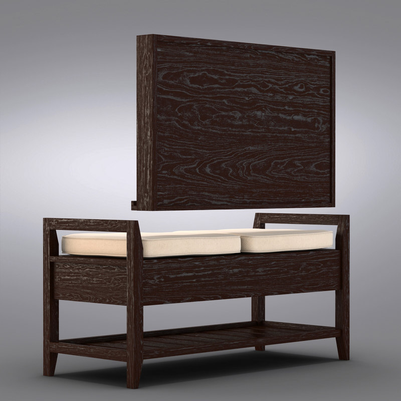 Crate And Barrel   Addison Storage Bench With Cushions + Mirror