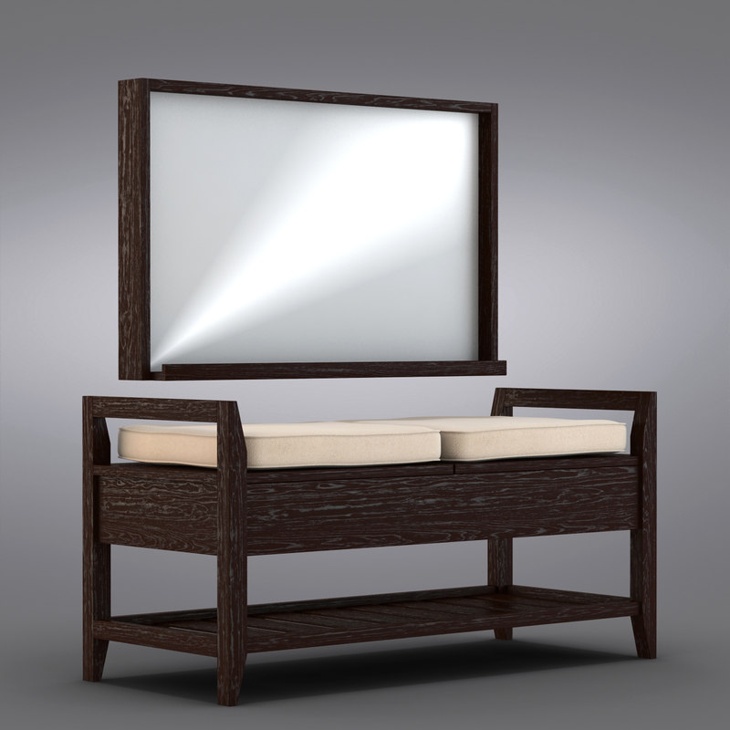Elegant Crate And Barrel   Addison Storage Bench With Cushions + Mirror