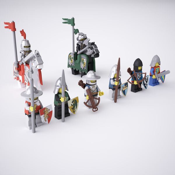 3d model rigged lego knight