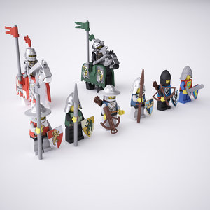3d model rigged lego knight