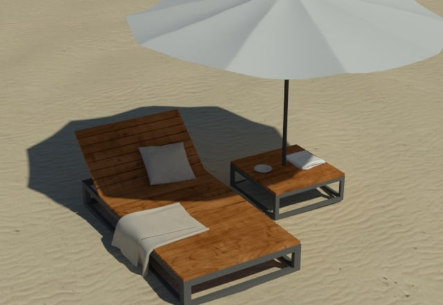3ds max beach lounge chair