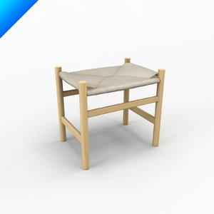 3d model ch53 hans wegner stool