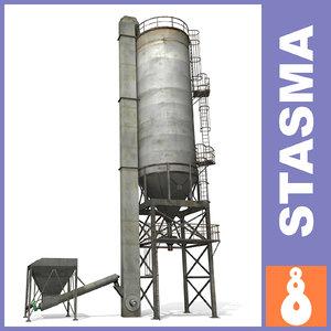 concrete silo 3d model