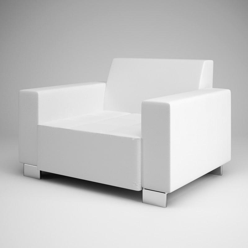 white armchair 08 3d model
