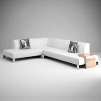 CGAxis White Modern Sofa 13