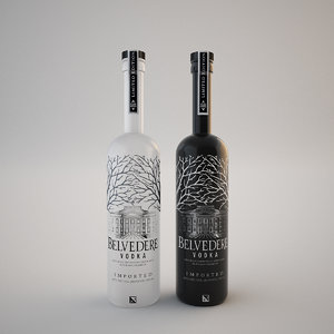 bottle vodka belvedere 3d model