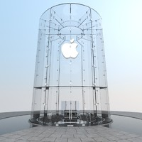 Apple Store Glass Cylinder Entrance