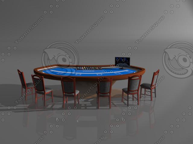 3d model casino poker table