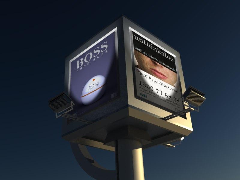 3d cube billboard 3 model