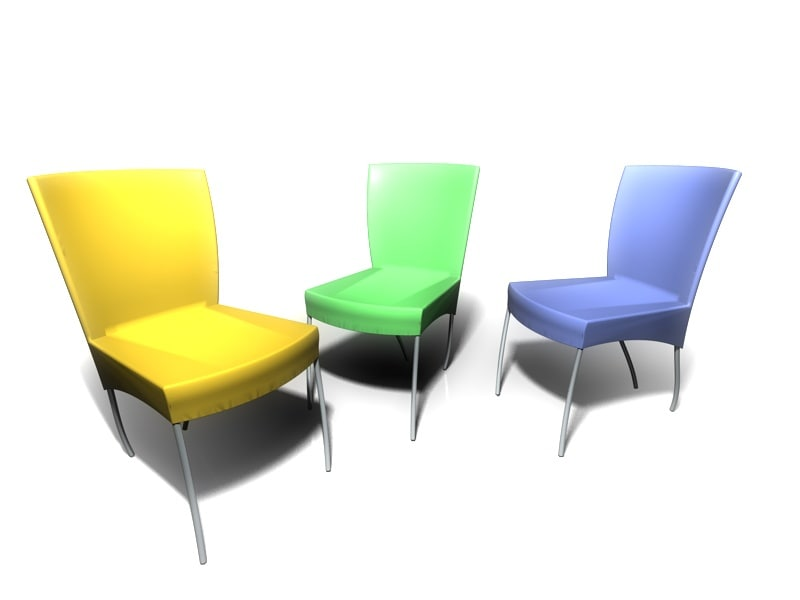 free simple plastic chair 3d model