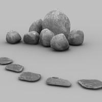 3dsmax garden stones
