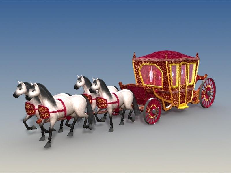 coach horses 3d model