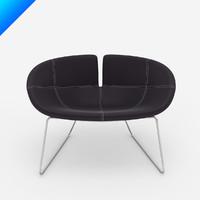 fjord armchair patricia urquiola 3d model