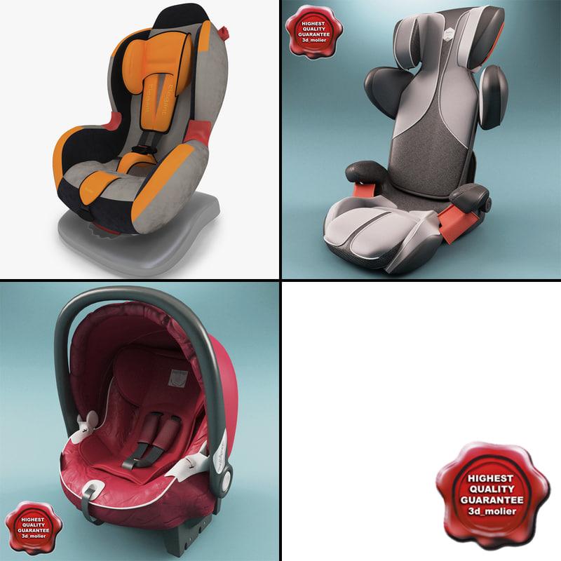 kiddy car seats v2 3d model