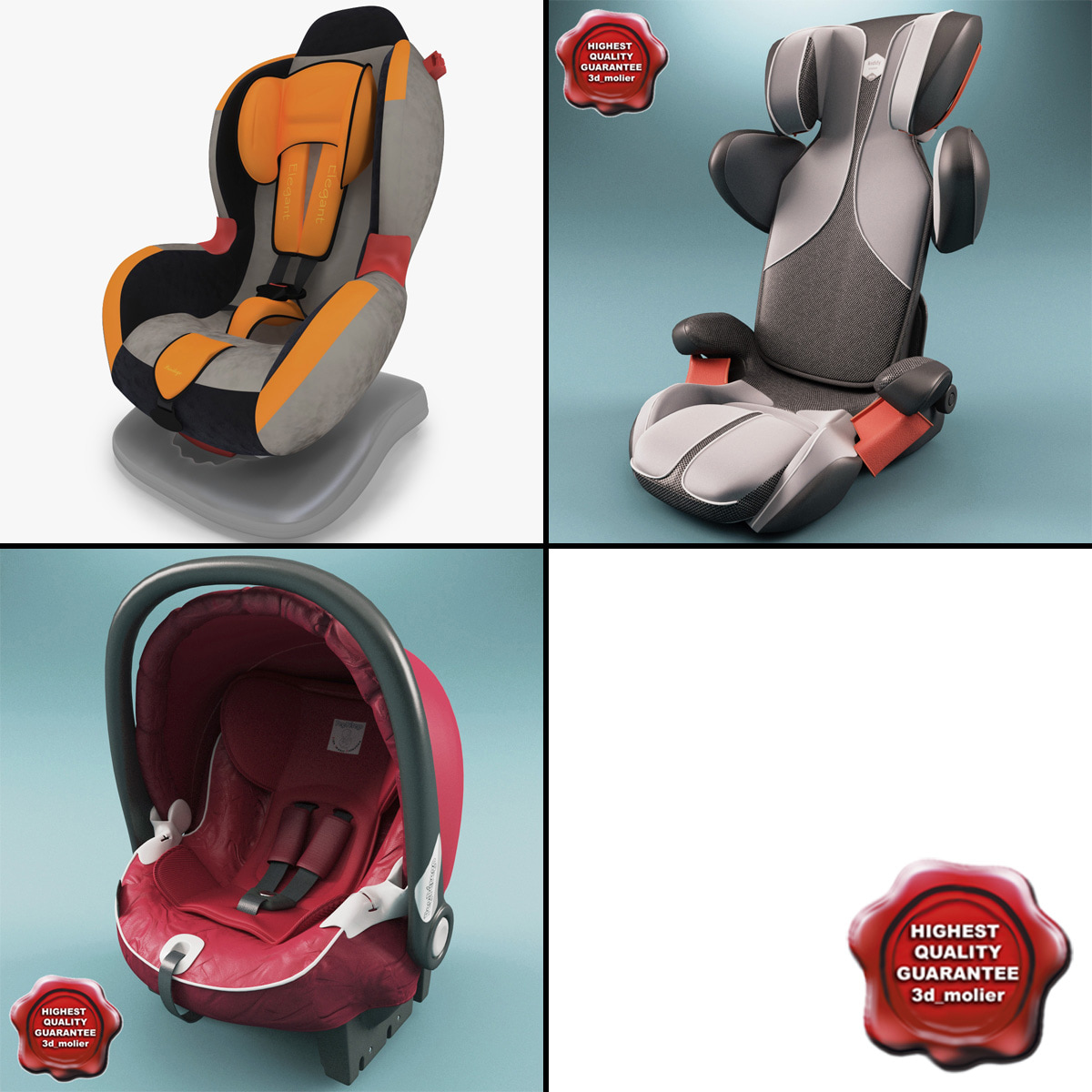 kiddy car seats v2 3d model