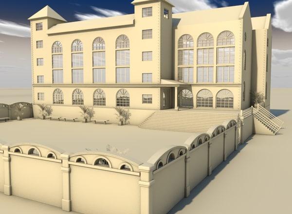 3d obj school building