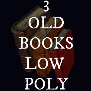 3d model 3 old books