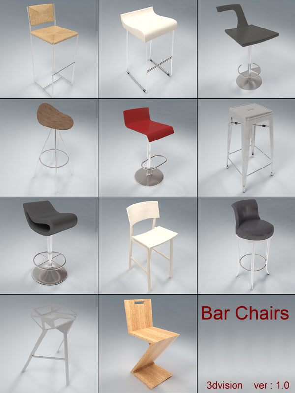 3d max bar chairs