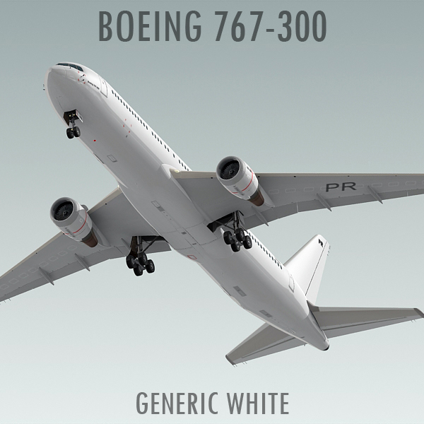 3d boeing 767-300 generic white model