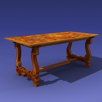 antique dining table 3ds