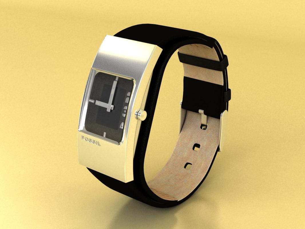 fossil watch female 3d model