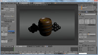 3d model barrel coin cannonballs