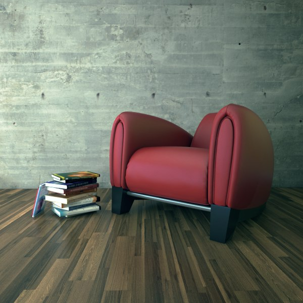 max red leather armchair