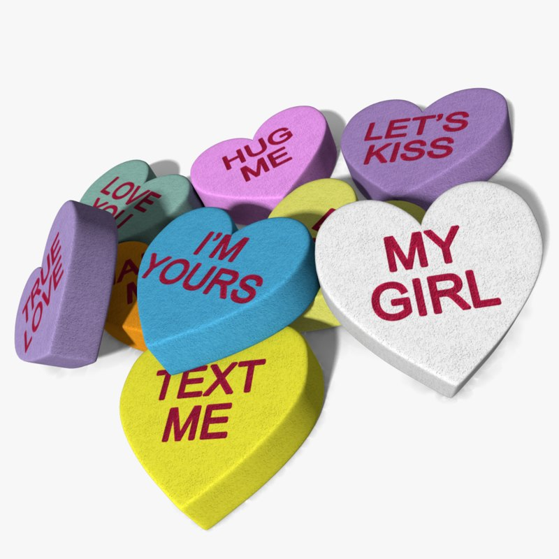 3d candy hearts